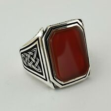 Turkish Ottoman Red Agate Gemstone Solid 925 Sterling Silver Mens Ring Gemstone