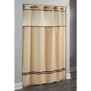 "Focus HBH40ES221 Hookless Shower Curtains, Escape Sand / Brown Stripe 71"" x 74"""