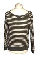 Abercrombie & Fitch Women's T Shirt Grey Stripe Long Sleeve Large Cotton Button
