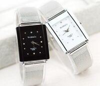 Armbanduhr Damen Silber Metall Strass Rechteckig Schwarz Weiß Quarz Uhr Geschenk