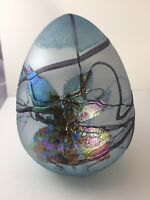 Borowski Art Glass Blown PaperweIght Blue Iridescent Freeforn Leaves MCM Poland