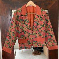 Alovette Vintage Retro Cotton Suede Floral Coral Jacket Blazer fits AU 6 8
