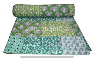 Indian Reversible Patchwork Kantha Quilt Multicolor Queen Blanket Throw Art