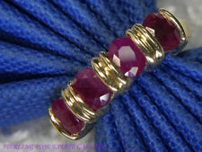 14k Yellow Gold four 5mm Ruby Wedding Anniversary Estate Band Ring size 6
