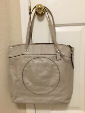 NWT Coach Leather Signature Op Art Laura Tote Embossed Carry All F18336 Sand