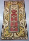 Vintage Hand Made Traditional Oriental Red Beige Wool Rug Low pile 188x110cm