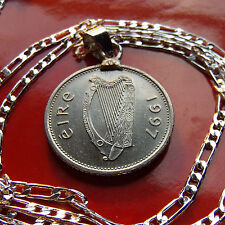 "1997 IRISH GAELIC MINT COIN PENDANT on a 30"" 925 STERLING SILVER LINK Chain"