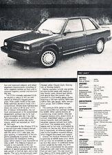 1987 Renault Alliance GTA Original Car Review Print Article J501