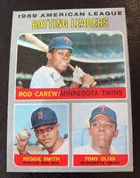 1970 AL Batting Leaders Rod Carew # 62 Minnesota Twins Topps Baseball Card HOF