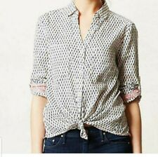 ANTHROPOLOGIE HOLDING HORSES MINI FLORAL BUTTON DOWN NAVY AND CREAM SIZE 2
