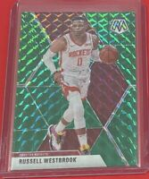 2019-20 Panini Mosaic Russell Westbrook GREEN PRIZM Houston Rockets #134 SP 🔥