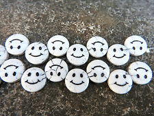 Czech white smiley face flat disc coin glass pressed beads 14  mm pack of 4