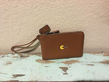 NWT COACH Pac-Man Saddle Calf Leather Corner Zip Wristlet *Limited Edition 54841