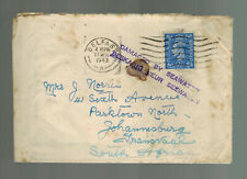 1943 Belfast England Cover to Johannesburg South Africa Ss Baroda Sunk by U Boat