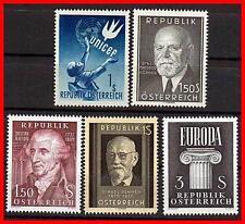 Austria 1949 59 X5 Sellos MNH Cv $26.00