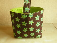 Wollekorb, Handarbeitskorb, Utensilo, Strickkorb mit Henkel - Sterne auf braun