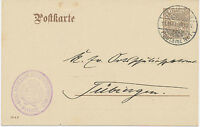 "WÜRTTEMBERG ""TÜBINGEN / Postamt Nr. 1"" K2 a. 3 Pf GA-Orts-Dienstpostkarte, 1909"