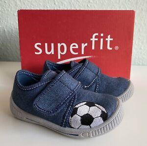 Superfit Baby Jungen Hausschuhe BULLY Gr. 22 Fußball Jeans *neuwertig*