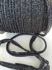 2 Meters Black/Silver Piping Insertion Cord Flanged Rope 8mm Upholstery Sewing