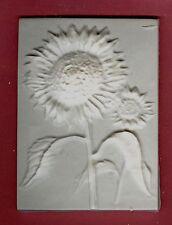 Flower tile #4: Sunflower plaster of paris painting project. Single tile.
