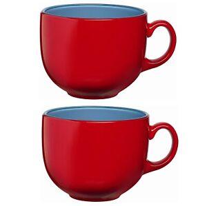 2 Large Red Coffee Mug Cappuccino Cup Hot Chocolate Latte Drinking Mug 400ml