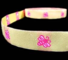 "5 Yd Yellow Pink Bumble Bee Woven Jacquard Ribbon Trim 7/8""W"