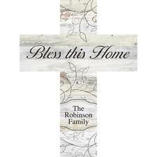 """Personalized Laser Engraved Wall Cross, BLESS THIS HOME, Family Last Name, 16"""""""