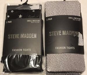 Steve Madden Women's Tights, Size Small/Medium, 2-Pair, Black, Silver, NEW