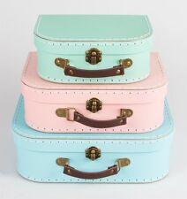 Set di 3 valigie Retrò Storage colori pastello rosa verde blu Sass & Belle
