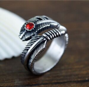 Angel Feather Lucky Rings Stainless Steel Men Women Red CZ Inlaid Feather Ring