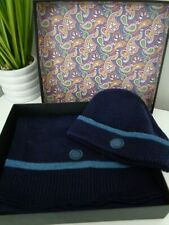 Pretty Green Navy Blue Knitted Hat & Scarf Set in Gift Box