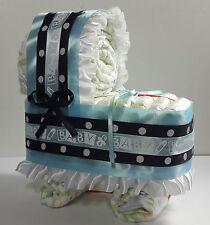 Diaper Cake Bassinet Carriage Baby Shower Gift - Blue w/ Black/White Polka Dots