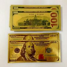 24K Pure Gold Colorized $100 Dollar Bill Bank Note - Gift Novelty Collectible