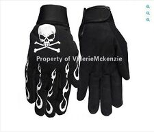 Skull Crossbones Flames Skeleton Mechanics Gloves Heavy Duty Barry Weiss Large