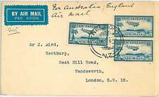 PALM TREES  AIRPLANES -  STAMPS on COVER - NEW ZEALAND 1937