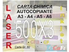 Carta CHIMICA autocopiante A4 500x3 * CB CFB CF * carbone ddt ricevute stampa