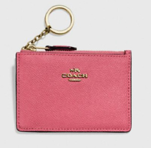Coach 💋Leather Mini id skinny Key Chain Card Case with Logo NWT in Rouge