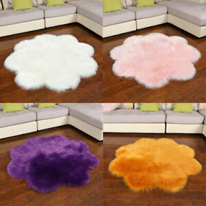 Flower Shape Shaggy Rug Living room Bedroom Carpet Floor Fluffy Mat Anti-Skid