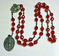 """† VINTAGE HOLY GHOST DOVE ROUND RED PLASTIC SILVER CHAPLET ROSARY 21 1/4"""" †"""