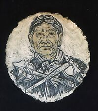 Chief Geronimo Round Faux STONE ROCK Rustic Plate Indian Native American ETCHED