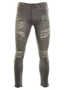 Men's Super Skinny Fit Multi Ripped Biker Style Faded Jeans Slim Legs Fashion Je