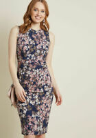 Vintage Style Modcloth Blue Pink Floral Sheath Evening Dress Size Small/Medium