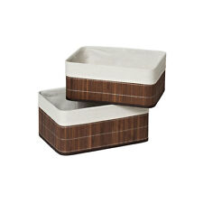 Set Of 2 Kankyo Storage Boxes Brown Bamboo/Cotton Liner Storage Organizer New