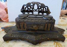 Antique Bradley & Hubbard #6062 Gilt Cast Iron Ink Well/ Porcelain Inserts EUC