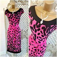 GOLD 💋 UK 14 Designer Pink Dotty Twisted Stretch Wiggle Dress ~Free Postage~