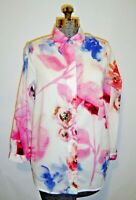 Soft Surroundings Pink Lightweight Cotton Blouse Artsy Floral Long Sleeve Sz PS