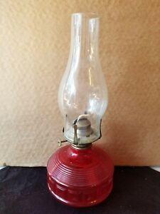 """Vtg 14"""" Cherry Red Glass Base Kerosene/Oil Lamp with Chimney"""