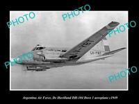 OLD LARGE HISTORIC PHOTO OF ARGENTINA AIR FORCE, DE HAVIALLAND DOVE PLANE c1949