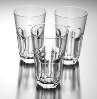 23 oz Clear Acrylic Plastic Glass Iced Tea Cup Hexagonal Base Tumbler Set of 6