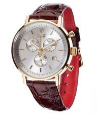 Relojes de pulsera de acero inoxidable dorado de cuero cronógrafo